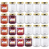 VonShef 8oz Hexagonal Glass Preserve Jam Jars with Screw Lids & Decorative Self-Adhesive Labels - Set of 24