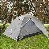 Bessport Camping Tente 2 Personnes Ultra Légère Facile à Installer Tentes Dôme Double Couche Tente 4 Saison Imperméable, Ventilée pour Pique-Nique, Randonnée, Camping (Lightgrey)