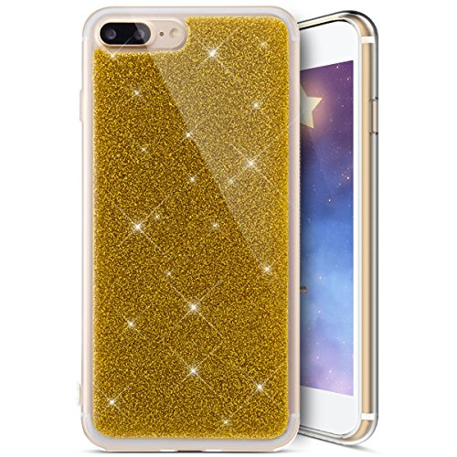 Custodia Cover iPhone 8/7 plus Silicone Morbida,Ukayfe Trasparente Cristallo di Lusso di Bling Glitter Paillettes Disegno per iPhone 8/7 plus Clear Flexible TPU Gel Ultra Sottile Copertura Case Protet Doro 3#