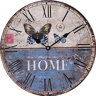 Alicemall Wanduhr Vintage Dekoration Rahmenlose Wandaufkleber 3D mit Ziffernblatt ohne Ticken modern Vintage Metall groß Uhren Wohnzimmer Schlafzimmer(Style 3)