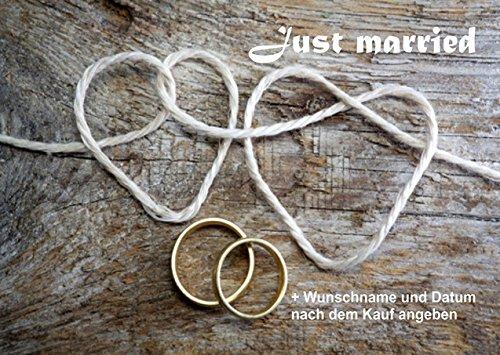 crealuxe Fussmatte Just Married - Hochzeitsfussmatte (Wunschname nach dem Kauf bitte angeben- Fussmatte bedruckt Türmatte Innenmatte Schmutzmatte lustige Motivfussmatte