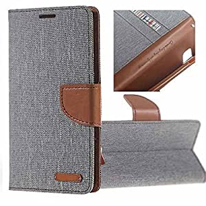 Aart Fancy Wallet Dairy Jeans Flip Case Cover for NokiaN520 (Grey) By Aart Store