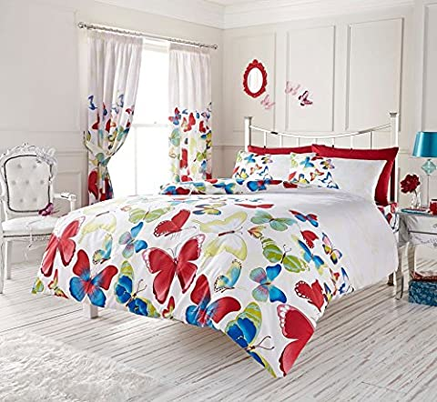 Duvet Cover Set King Size Kingsize With Pillowcases Quilt Bedding Set Reversible Poly Cotton , Butterfly Print