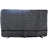 Cases Wonder Cubierta de TV Exterior y Interior Protector Impermeable para 28 '' - 43 '' LED LCD - Construido en Controlador Remoto y Cable HDMI Bolsillo de Almacenamiento - Apoyo Lavable a máquina (Negro Cuadrícula, 43 Pulgada)