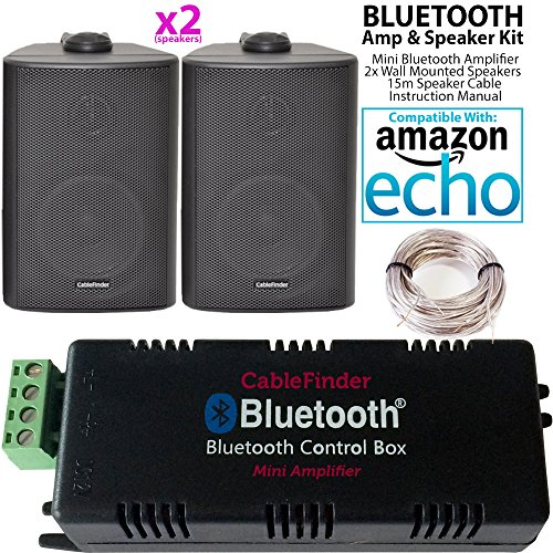 Smart Home Bluetooth Verstärker & 2x schwarz Wand montiert-Lautsprecher-Set–Kompakte HiFi Mini/Micro Amp–Badezimmer/Küche Audio Musik Player System–Cablefinder