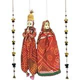 Laxman Art Rajasthani Colorful Handcrafted Handmade Kathputli / Hand Puppet Pair and 1 Pair Ganesh Door/Wall Hangings…