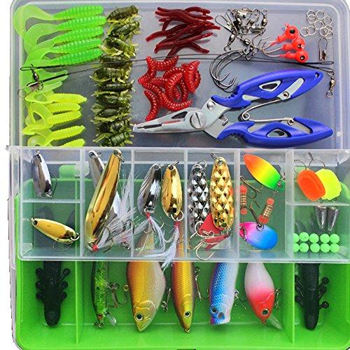Angeln Köder Tackle, MeetYours 101 Stück/set Bionic Kunstköder Set mit Plastikbox Angeln Köder Set Fischen Löffel für Süßwasser Salzwasser Forelle Bass Lachs (Green) (Soft Tackle Box, Rucksack)