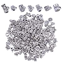 BronaGrand 100g (About 130-170pcs) Mixed Antique Tibetan Silver Bail Beads,Spacer Bead,Bail Tube Beads,Bracelet Charms,Necklace Pendants for Jewelry and Craft Making