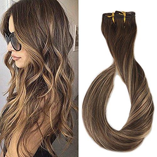 Full Shine 24 Zoll Haarverlängerung Echthaar Clips Ombre Braun zu Blond mit Braun 120g/9pcs 100% Remy Clip in Echthaar Extensions