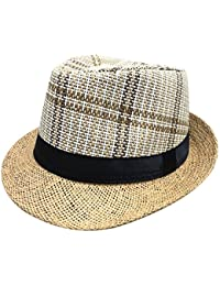 ed739a48eeff Cupcinu Summer Sun Straw Hat British Style Panama Fedora Trilby Straw Hat  Straps and Lattice Design Jazz Hat Cap Foldable Packable…