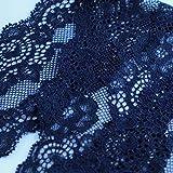 kawenSTOFFE französische Wäschespitze Lace florales Muster Matt 7cm Dunkelblau