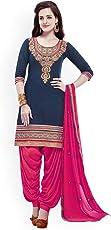 Nivah Fashion Women's Pure Cotton Embroidery Patiyala Salwar Suit (Free Size_Semi-Stich) G17