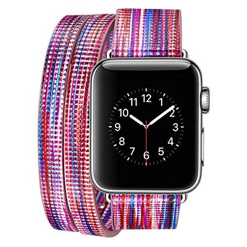 Preisvergleich Produktbild Armband für Apple Watch 42mm, PU Leder Ersatzband mit Edelstahl Gürtelschnalle Leder Uhrenarmband für Apple Watch 42mm Series 1 / 2 / 3 (B) (8)