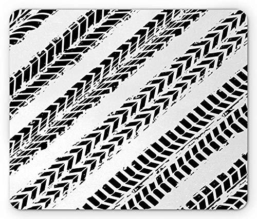 WYICPLO Dirt Bike Mouse Pad, Tire Marks in Monochrome Patterns Motocross Dirt Bike Racing Illustration, Standard Size Rectangle Non-Slip Rubber Mousepad, Black and White - Tire Bike Big