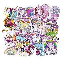 FINGOOO 50 pieces Unicorn Sticker Cartoon Waterproof Reward Sticker for Kids Girls Party Bag fillers