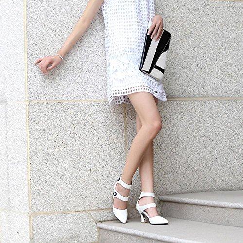 COOLCEPT Femmes Mode Classique Sangle de cheville Talons hauts Sandales Chaussures Blanc