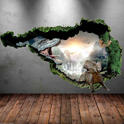 Price comparison product image 3D Dinosaur Full Colour T-Rex Wall Art Sticker Boys Decal Mural Transfer Graphic WSD74