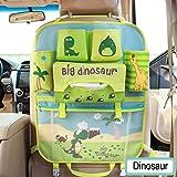 Tirzah Cartoon Autositz Zurück Organizer Aufbewahrungsbeutel Hängen Baby Reise Auto Organizer Boot Multi-Tasche für Kinder Kinder (Grüner Dinosaurier)