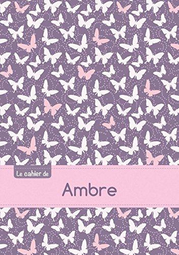 Le cahier d'Ambre - Blanc, 96p, A5 - Papillons Mauve