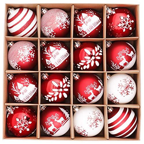 Valery Madelyn Weihnachtskugeln 16 Stücke 8CM Kunststoff Christbaumkugeln Weihnachtsdeko mit Aufhänger Weihnachtsbaumschmuck für Weihnachtsdekoration Traditionelles Thema Rot Weiß MEHRWEG Verpackung