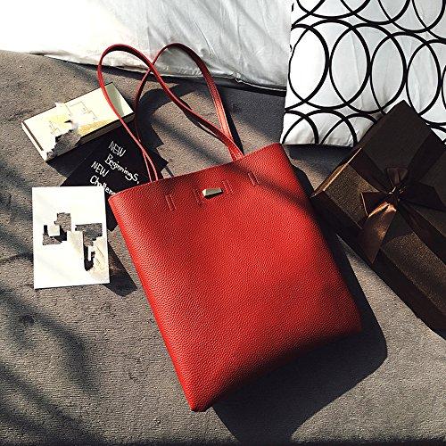 Jinberry Retro Elegant Schultertasche für Damen / Vintage Kunstleder Handtasche Tragetasche Shopper für Uni, Schule, Arbeit Rot