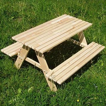 Kindertisch holz  Amazon.de: Kindersitzgarnitur 4 Sitzer Kinder Sitzgruppe Holz ...