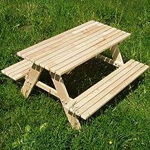Kindersitzgarnitur 4 Sitzer Kinder Sitzgruppe Holz Garten Tisch Bank Kindertisch (Natur)