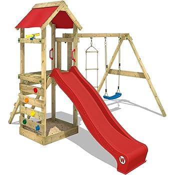 WICKEY Aire de jeux FreeFlyer Portique de jeux en bois Cabane pour enfants avec  balançoire, 51a3ea972677