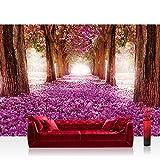 Vlies Fototapete 200x140 cm PREMIUM PLUS Wand Foto Tapete Wand Bild Vliestapete - Natur Tapete Weg Bäume Blüten Allee Frühling lila - no. 721