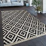 Paco Home Teppich Modern Marokkanische Muster Handgewebt Skandi Rauten Fransen Gelb Weiß, Grösse:160x230 cm