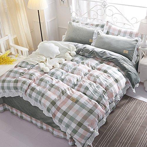 BB.er Einfache Karierte gestreifte Baumwolle gepolsterte Betten Set mit 4 Spitzen Röcke gewaschener Baumwolle Doppelbett Heimtextilien, Green Plaid, 200 * 230 cm