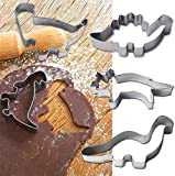 Stainless Steel 4Pcs Dinosaur Cake Cookie Cutter Mold Pastry Biscuit Baking Stamp Moulds