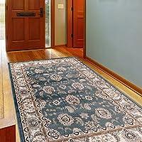 Tappeto classico con disegno Orient, finiture in crema blu novità,