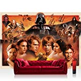 Vlies Fototapete 208x146cm PREMIUM PLUS Wand Foto Tapete Wand Bild Vliestapete - Jungen Tapete STAR WARS Yoda Luke Skywalker Obi Wan Cartoon Illustration braun - no. 1816