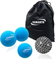 SUNANTH Massage Ball Set -Peanut Ball,Lacrosse Balls,Spiky Ball for Myofascial Release, Trigger Point Therapy, Deep Tissue Muscle Recovery, Pain Relief,Plantar Fasciitis and Yoga Therapy