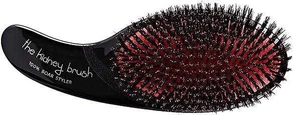 Olivia Garden Haarbürste Kidney Brush 100 prozent Wildschweinborsten, 1 Stück, rot