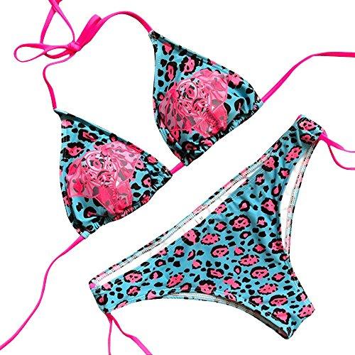 TWIFER Leoparden Drucken Leoparden Bikinis Push-Up Damen Triangel Badeanzüge Blau (80er-jahre-badeanzug)