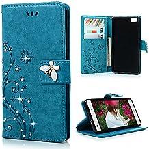 Mavis's Diary Huawei P8 Lite Blu Cover, Glitter Bling 3D