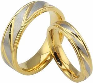 HIJONES Gioielli Uomo Donne Stainless Steel 18K Oro Placcato Anello di Nozze Promessa Twill