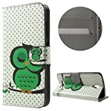 jbTec® Flip Case Handy-Hülle zu ZTE Blade L5 Plus - Book Motiv - Handy-Tasche Schutz-Hülle Cover Handyhülle Ständer Bookstyle Booklet, Motiv/Muster:Grüne Eule E33
