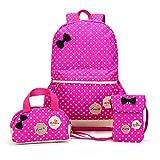 FRISTONE Mädchen Polka Punkt Schulrucksack Kinder Daypack/schulrucksäcke /Kinderbuchtasche Mädchen Teenager + Mini handtasche + Geldbeutel Umhängetasche,Set von 3 (Rose Rot)