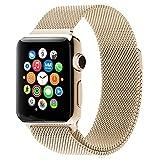 MMOBIEL Cinturino orologio (42 mm) Ultra sottile in acciaio stile Milanese di ricambio per Apple Watch serie (Oro Retrò)