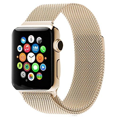 MMOBIEL Uhrenarmband (38 mm) Super Slim rostfreier Edelstahl Milanaise Armband Ersatz für Alle Apple Watch Serien (Retro Gold)