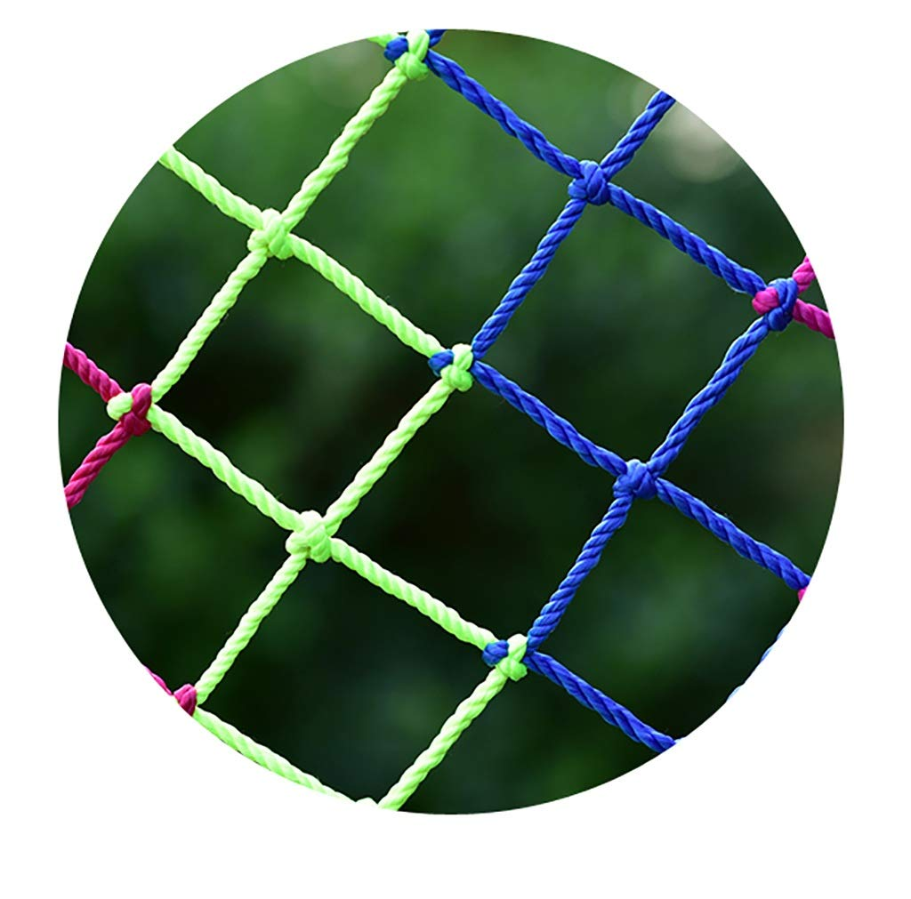 Child safety net protective net balcony stairs anti-fall net kindergarten color decorative net fence network Length 1M /9M Hand braided traditional structure (Color : Outdoor, Size : 4m*5m)  [Protect children's safety]: Many children fall from the building, let us understand that the safety of children can not be ignored. [Polyester knotless woven mesh]: The mesh surface has large pulling force, and the double needle has no knot woven mesh hole, so that the mesh has stronger impact resistance. [wire diameter 4MM, mesh spacing 4CM]: Escort for baby safety.(Others available in our shop) 1