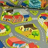 Filzteppich Stadtmuster Straße grün Spielteppich Kinderstoffe - Preis gilt für 0,5 Meter -