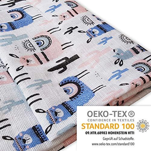 Baby Pucktuch 2er Set - Swaddle Blanket aus 100{332ce7122a2ad915d965afdd246278c036a78a73c0d698d62d3e7532acba2409} zertifizierter Baumwolle - Musselin Puckdecke mit Lamas - ideal als Baby-decke, Stilltuch, Spucktuch, Babytragetuch - 2 Stück (120x120 cm + 75x75 cm)