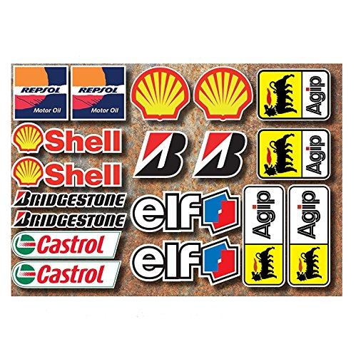 Preisvergleich Produktbild 18 PVC Aufkleber Set Motorsport Rennsport Motorrad Auto Racing Laminiert Sticker MOTO GP Sponsors