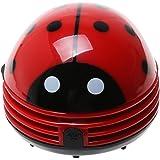 Cisixin Rojo Mariquita Aspiradora de Mesa Eléctrica Mini Limpiador de Polvo