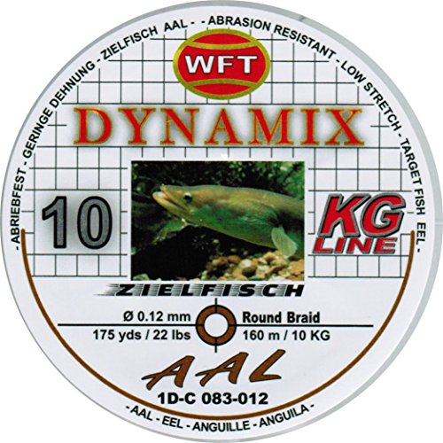 WFT Round Dynamix Aal braun 160m, geflochtene Schnur fürs Aalangeln, Raubfischschnur, braune Angelschnur, Aalschnur, Durchmesser/Tragkraft:0.12mm / 10kg Tragkraft
