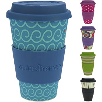 ebos Glücksbringer Coffee-to-Go-Becher aus Bambus | Kaffee-Becher, Trink-Becher | ökologisch abbaubar, wiederverwendbar, umweltfreundlich | lebensmittelecht, spülmaschinengeeignet (Cool Waves)
